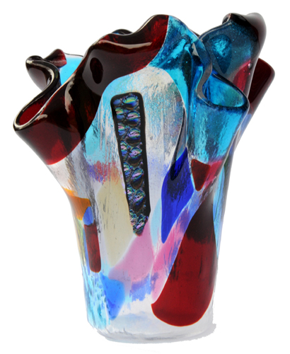 Athelstan Glass Multi Coloured Art Glass Vase With Dichroic Accents